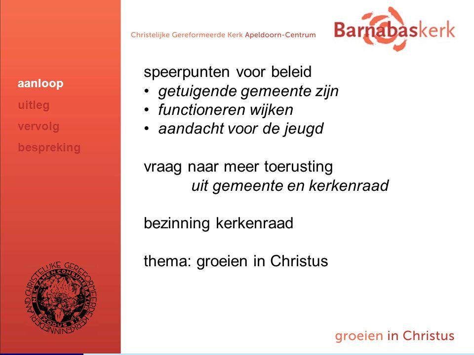 BarnabasKerk De Vanaf hier presentatie van de werkgroep; uitwerking nog te ontvangen van Jan ten Hove en uit te werken door Hans en Arjan speerpunten