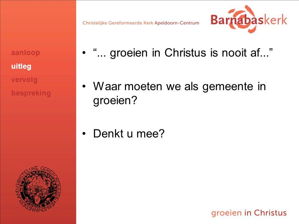 """BarnabasKerk De Vanaf hier presentatie van de werkgroep; uitwerking nog te ontvangen van Jan ten Hove en uit te werken door Hans en Arjan """"... groeien"""