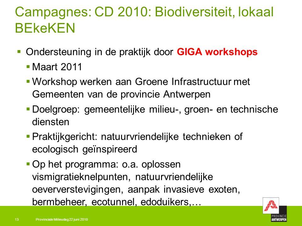 Provinciale Milieudag 22 juni 201013 Campagnes: CD 2010: Biodiversiteit, lokaal BEkeKEN  Ondersteuning in de praktijk door GIGA workshops  Maart 201