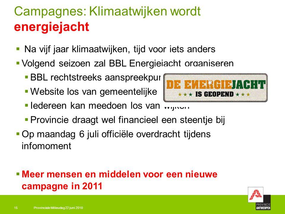 Provinciale Milieudag 22 juni 201015 Campagnes: Klimaatwijken wordt energiejacht  Na vijf jaar klimaatwijken, tijd voor iets anders  Volgend seizoen