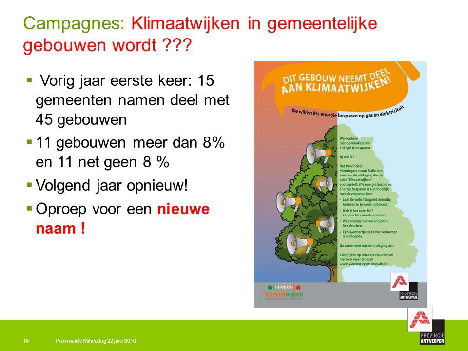 Provinciale Milieudag 22 juni 201016 Campagnes: Klimaatwijken in gemeentelijke gebouwen wordt ???  Vorig jaar eerste keer: 15 gemeenten namen deel me