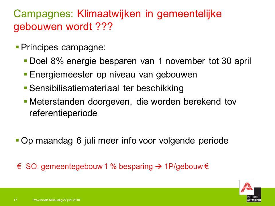Provinciale Milieudag 22 juni 201017 Campagnes: Klimaatwijken in gemeentelijke gebouwen wordt ???  Principes campagne:  Doel 8% energie besparen van
