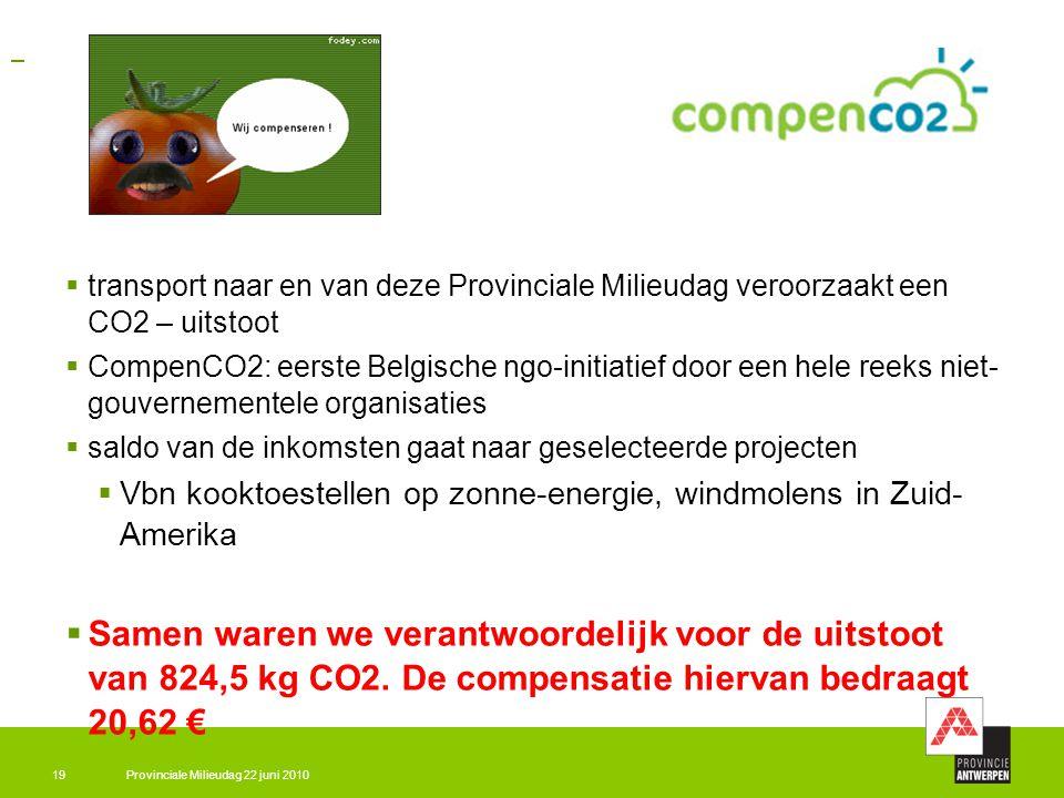 Provinciale Milieudag 22 juni 201019  transport naar en van deze Provinciale Milieudag veroorzaakt een CO2 – uitstoot  CompenCO2: eerste Belgische n