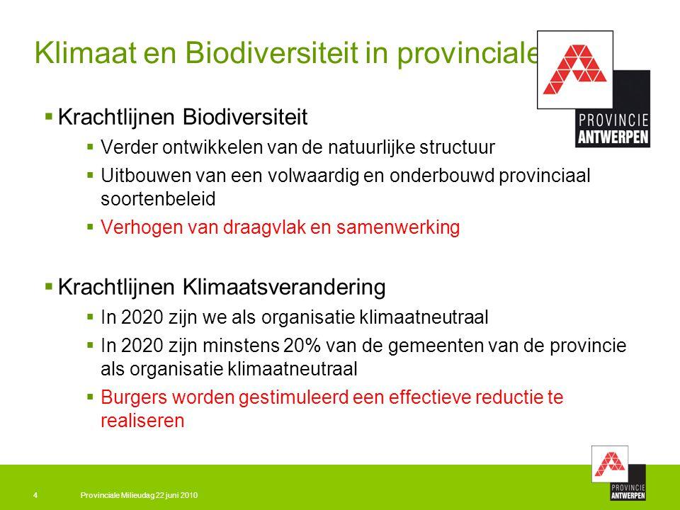 Provinciale Milieudag 22 juni 20104 Klimaat en Biodiversiteit in provinciale beleid  Krachtlijnen Biodiversiteit  Verder ontwikkelen van de natuurli