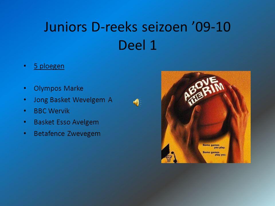Juniors D-reeks seizoen '09-10 Deel 1 5 ploegen Olympos Marke Jong Basket Wevelgem A BBC Wervik Basket Esso Avelgem Betafence Zwevegem