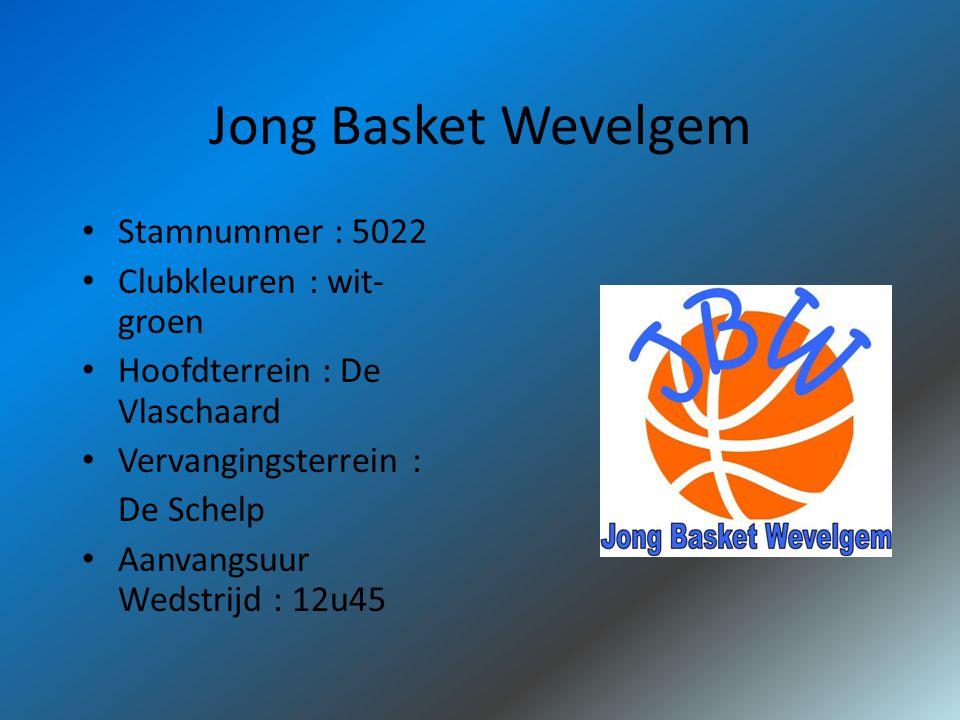 Jong Basket Wevelgem Stamnummer : 5022 Clubkleuren : wit- groen Hoofdterrein : De Vlaschaard Vervangingsterrein : De Schelp Aanvangsuur Wedstrijd : 12