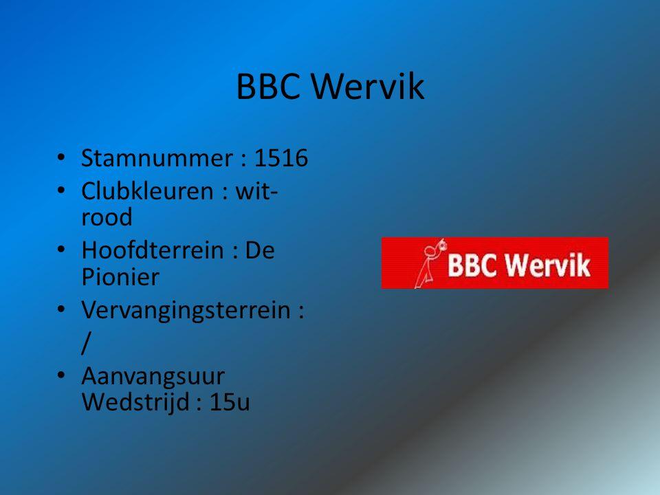 BBC Wervik Stamnummer : 1516 Clubkleuren : wit- rood Hoofdterrein : De Pionier Vervangingsterrein : / Aanvangsuur Wedstrijd : 15u