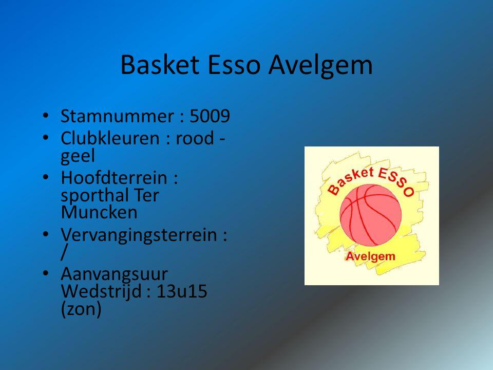 Basket Esso Avelgem Stamnummer : 5009 Clubkleuren : rood - geel Hoofdterrein : sporthal Ter Muncken Vervangingsterrein : / Aanvangsuur Wedstrijd : 13u15 (zon)
