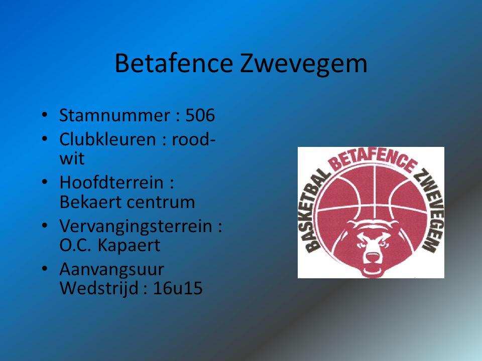 Betafence Zwevegem Stamnummer : 506 Clubkleuren : rood- wit Hoofdterrein : Bekaert centrum Vervangingsterrein : O.C.