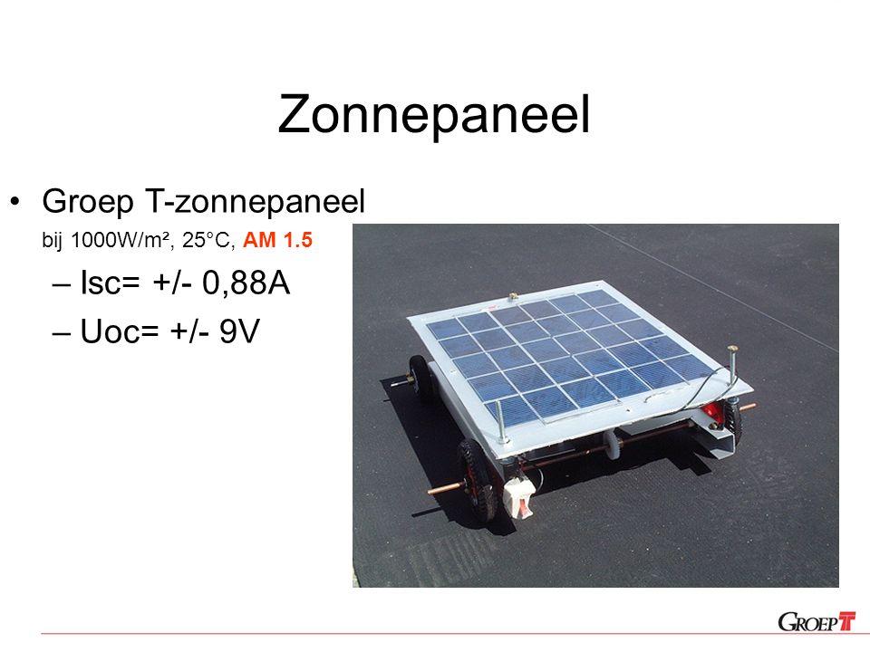 Zonnepaneel Groep T-zonnepaneel bij 1000W/m², 25°C, AM 1.5 –Isc= +/- 0,88A –Uoc= +/- 9V