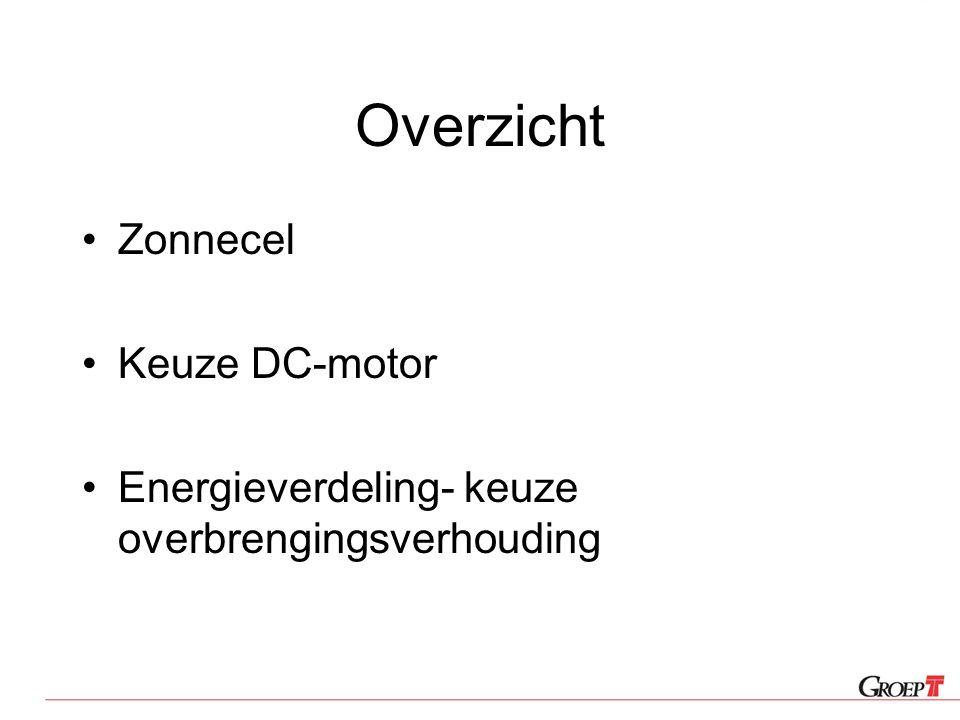 Overzicht Zonnecel Keuze DC-motor Energieverdeling- keuze overbrengingsverhouding