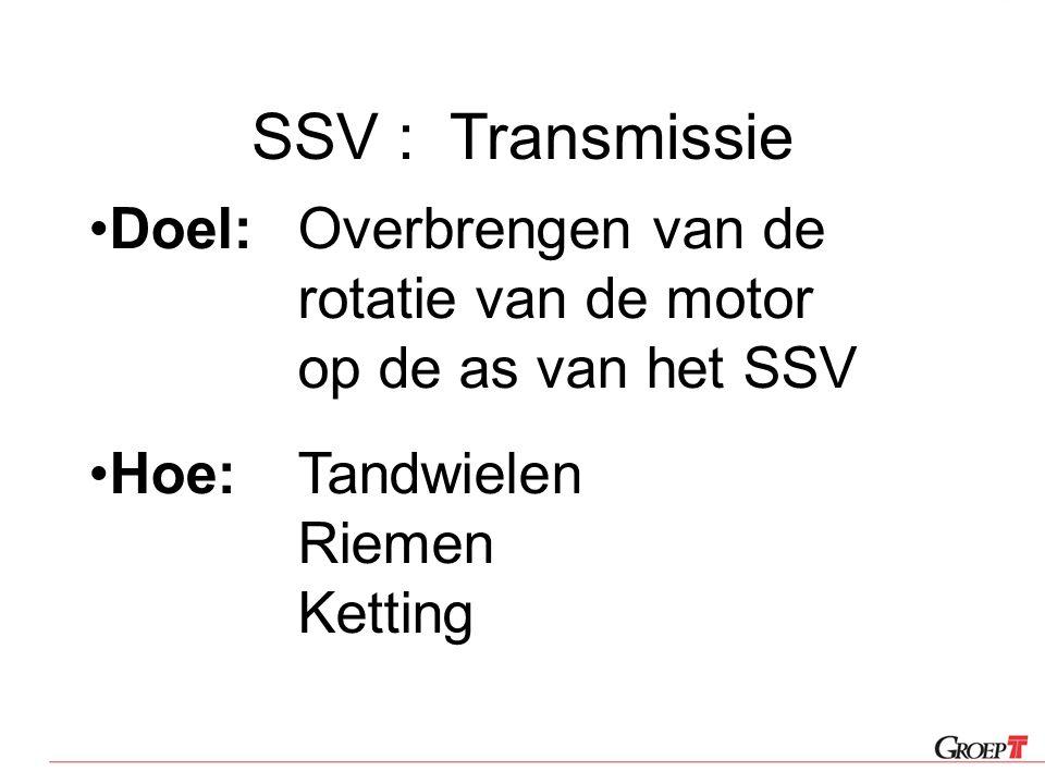 SSV : Transmissie Doel:Overbrengen van de rotatie van de motor op de as van het SSV Hoe:Tandwielen Riemen Ketting