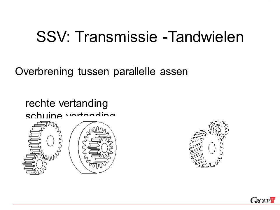 SSV: Transmissie -Tandwielen Overbrening tussen parallelle assen rechte vertanding schuine vertanding