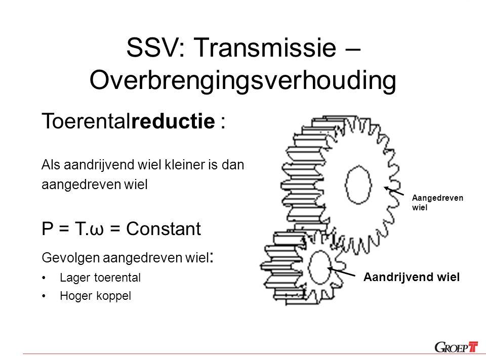 SSV: Transmissie – Overbrengingsverhouding Toerentalreductie : Als aandrijvend wiel kleiner is dan aangedreven wiel P = T.ω = Constant Gevolgen aanged