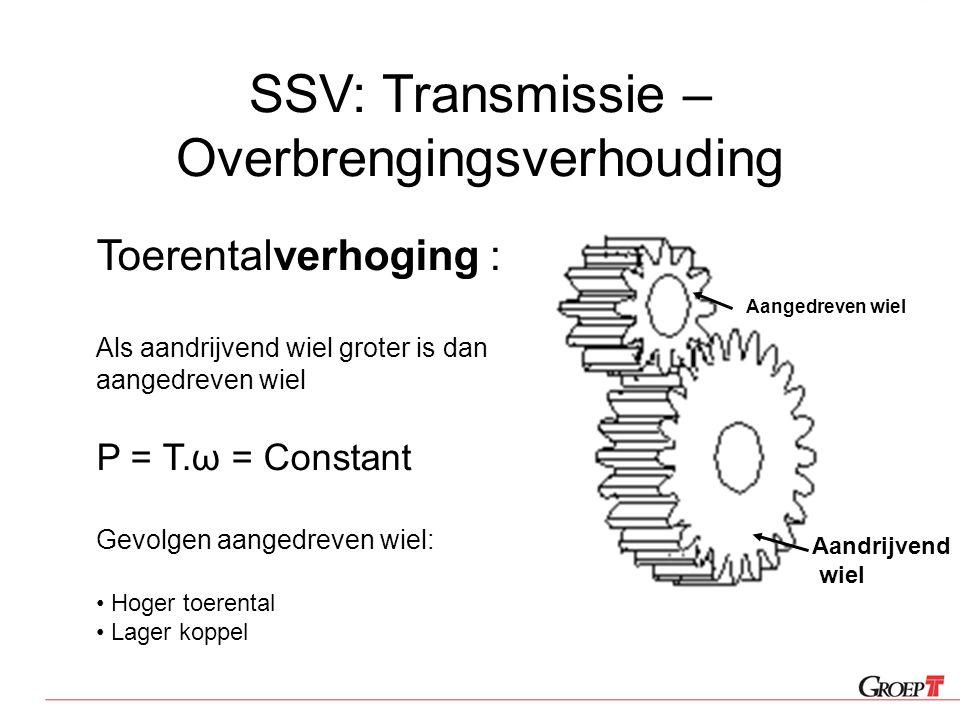 SSV: Transmissie – Overbrengingsverhouding Toerentalverhoging : Als aandrijvend wiel groter is dan aangedreven wiel P = T.ω = Constant Gevolgen aanged