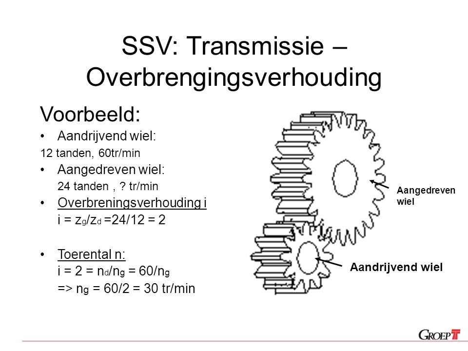 SSV: Transmissie – Overbrengingsverhouding Voorbeeld: Aandrijvend wiel: 12 tanden, 60tr/min Aangedreven wiel: 24 tanden, ? tr/min Overbreningsverhoudi