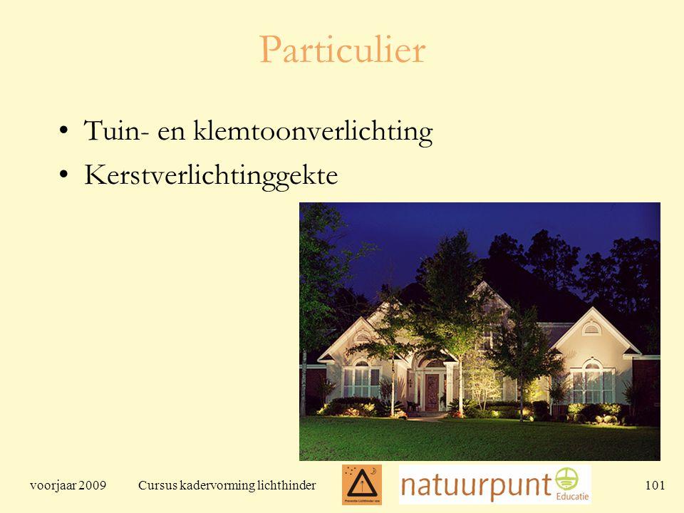voorjaar 2009 Cursus kadervorming lichthinder 101 Particulier Tuin- en klemtoonverlichting Kerstverlichtinggekte
