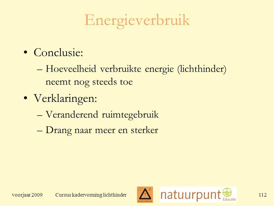 voorjaar 2009 Cursus kadervorming lichthinder 112 Energieverbruik Conclusie: –Hoeveelheid verbruikte energie (lichthinder) neemt nog steeds toe Verklaringen: –Veranderend ruimtegebruik –Drang naar meer en sterker