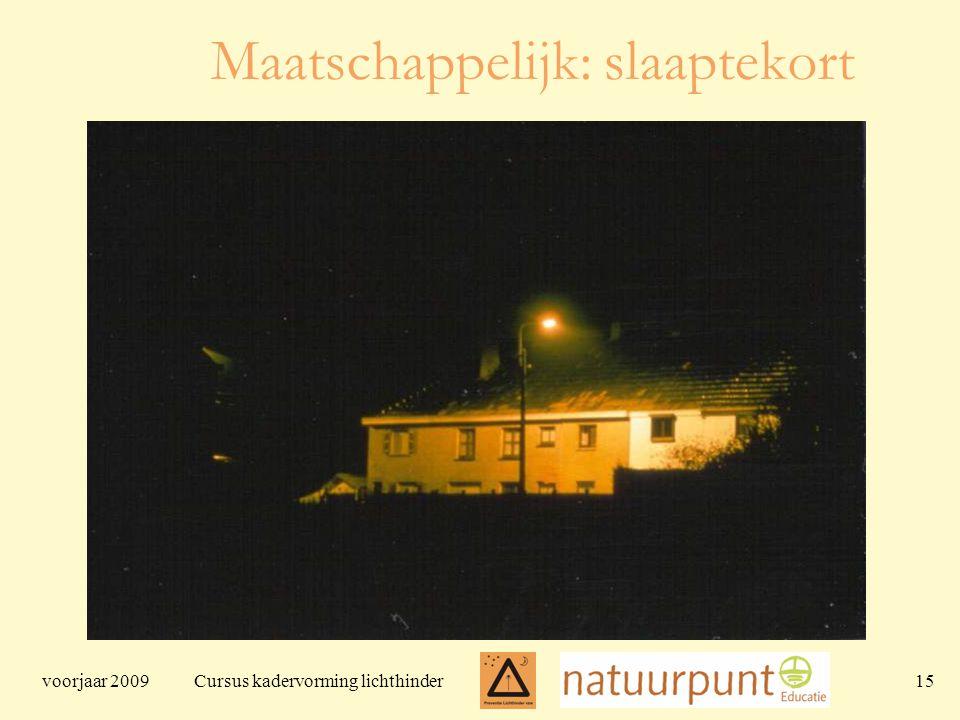 voorjaar 2009 Cursus kadervorming lichthinder 15 Maatschappelijk: slaaptekort
