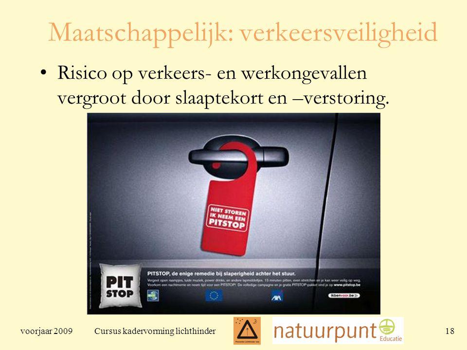 voorjaar 2009 Cursus kadervorming lichthinder 18 Maatschappelijk: verkeersveiligheid Risico op verkeers- en werkongevallen vergroot door slaaptekort en –verstoring.