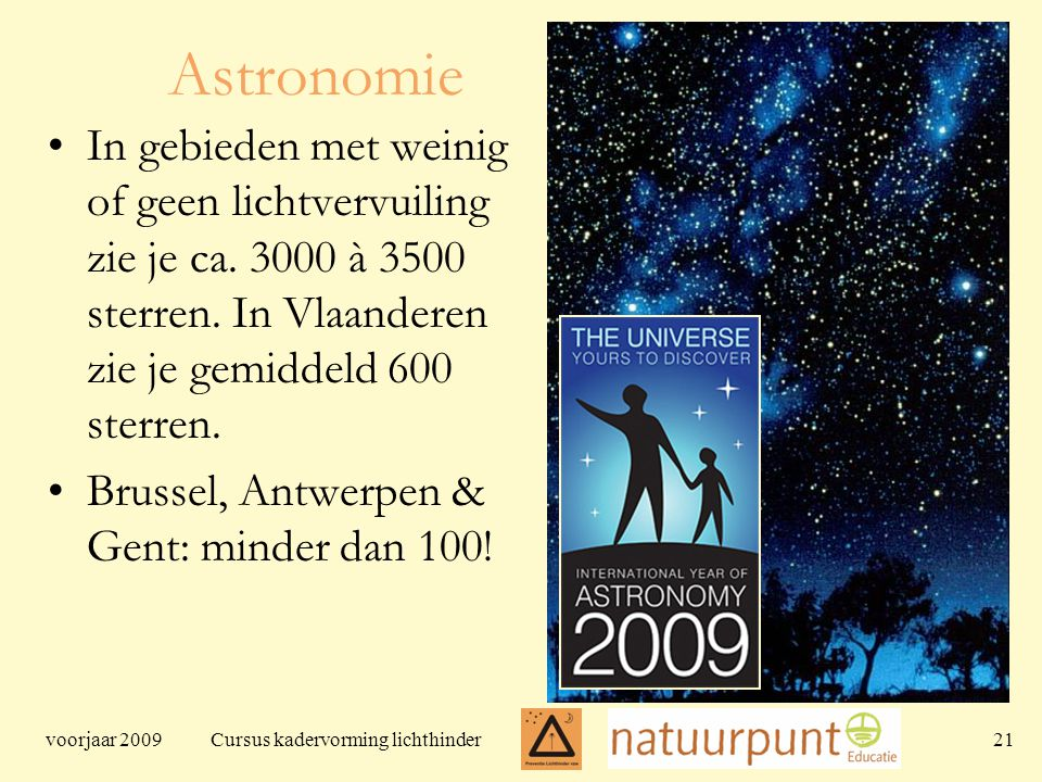 voorjaar 2009 Cursus kadervorming lichthinder 21 Astronomie In gebieden met weinig of geen lichtvervuiling zie je ca.