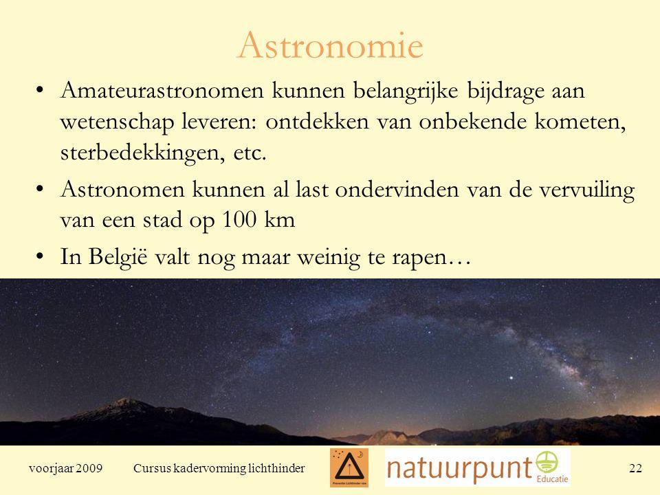 voorjaar 2009 Cursus kadervorming lichthinder 22 Astronomie Amateurastronomen kunnen belangrijke bijdrage aan wetenschap leveren: ontdekken van onbekende kometen, sterbedekkingen, etc.