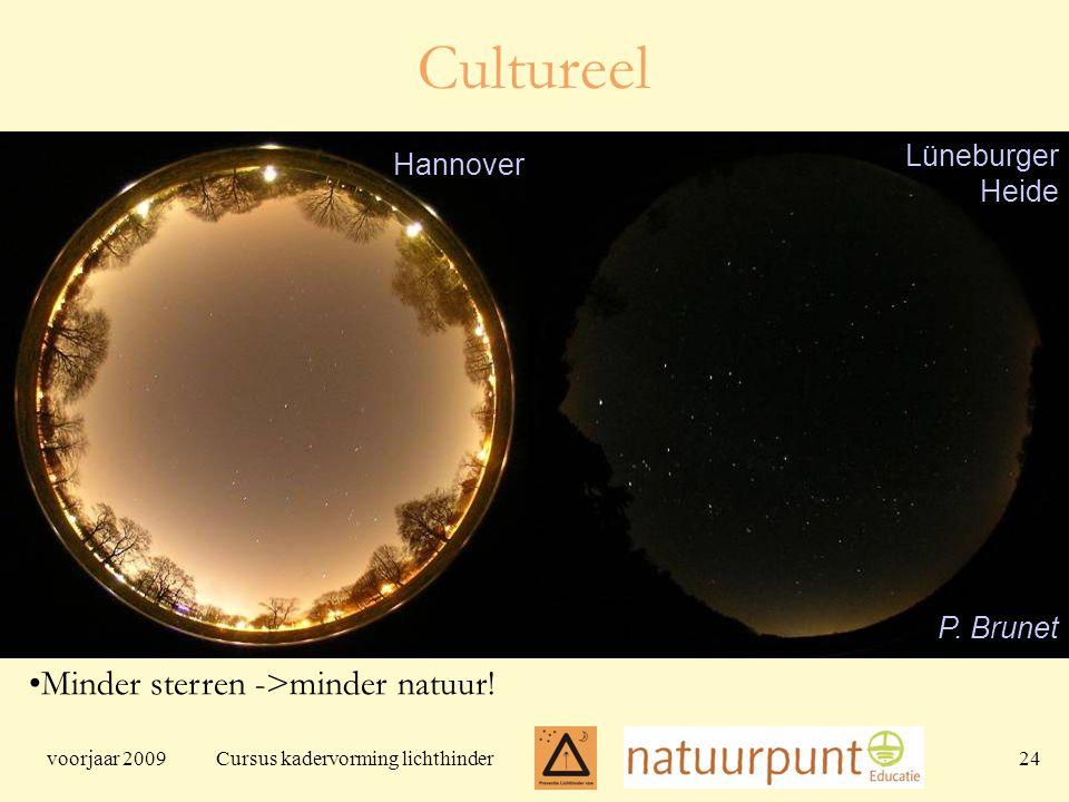 voorjaar 2009 Cursus kadervorming lichthinder 24 Minder sterren ->minder natuur.