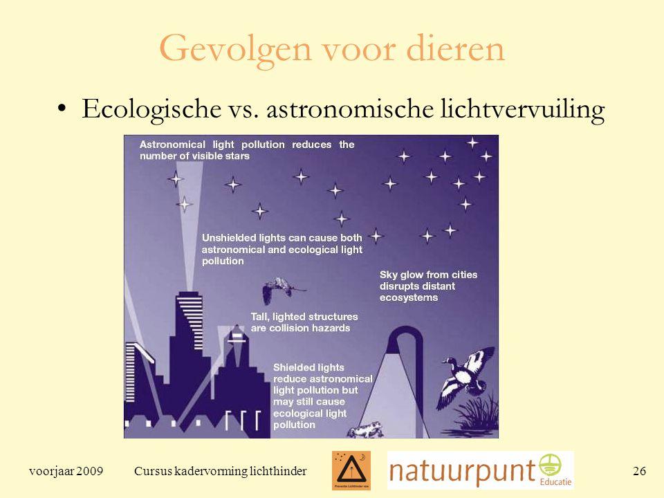 voorjaar 2009 Cursus kadervorming lichthinder 26 Gevolgen voor dieren Ecologische vs.