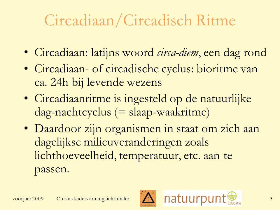 voorjaar 2009 Cursus kadervorming lichthinder 5 Circadiaan/Circadisch Ritme Circadiaan: latijns woord circa-diem, een dag rond Circadiaan- of circadische cyclus: bioritme van ca.