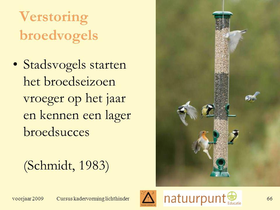 voorjaar 2009 Cursus kadervorming lichthinder 66 Verstoring broedvogels Stadsvogels starten het broedseizoen vroeger op het jaar en kennen een lager broedsucces (Schmidt, 1983)