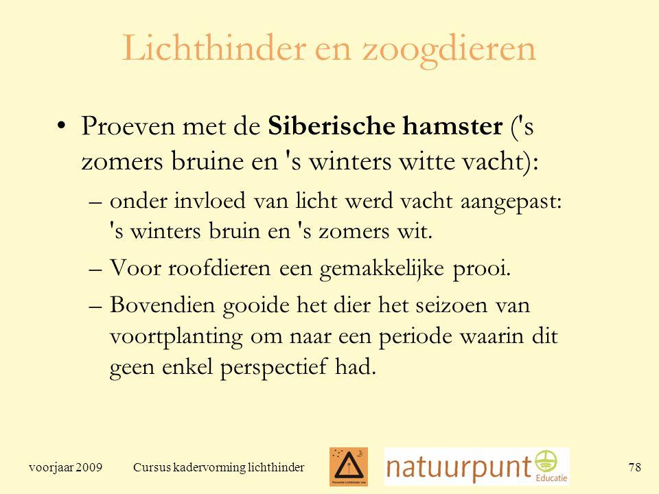 voorjaar 2009 Cursus kadervorming lichthinder 78 Lichthinder en zoogdieren Proeven met de Siberische hamster ( s zomers bruine en s winters witte vacht): –onder invloed van licht werd vacht aangepast: s winters bruin en s zomers wit.