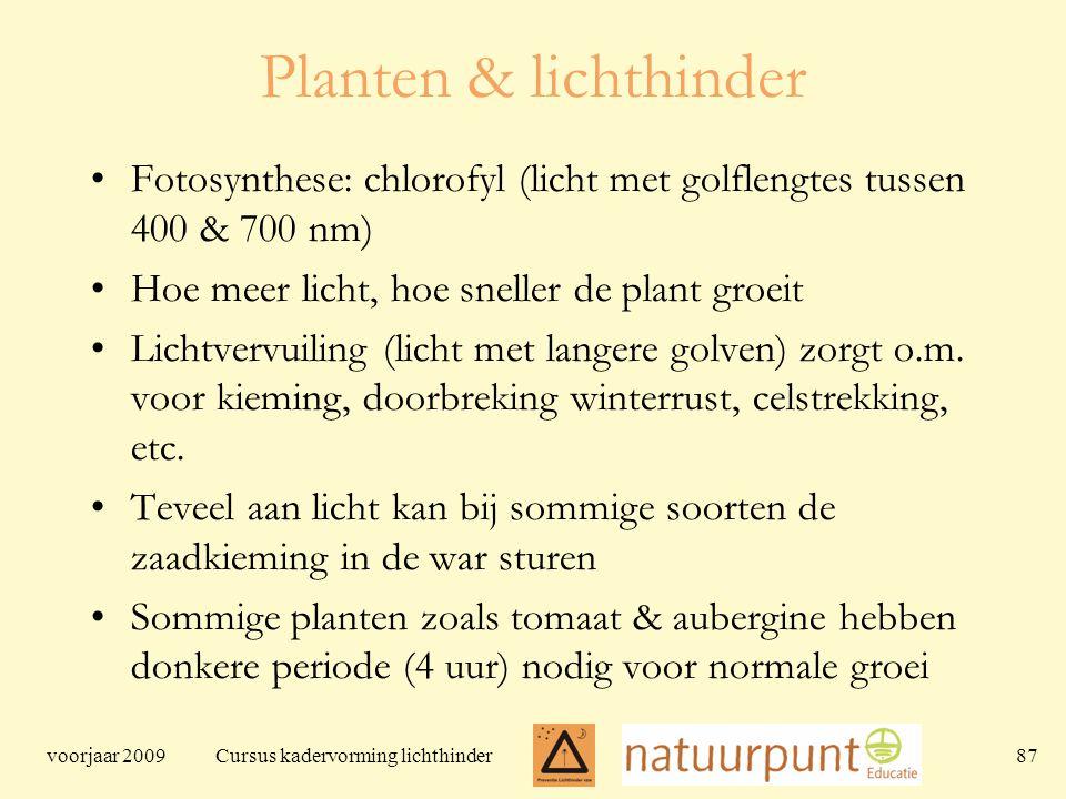 voorjaar 2009 Cursus kadervorming lichthinder 87 Planten & lichthinder Fotosynthese: chlorofyl (licht met golflengtes tussen 400 & 700 nm) Hoe meer licht, hoe sneller de plant groeit Lichtvervuiling (licht met langere golven) zorgt o.m.