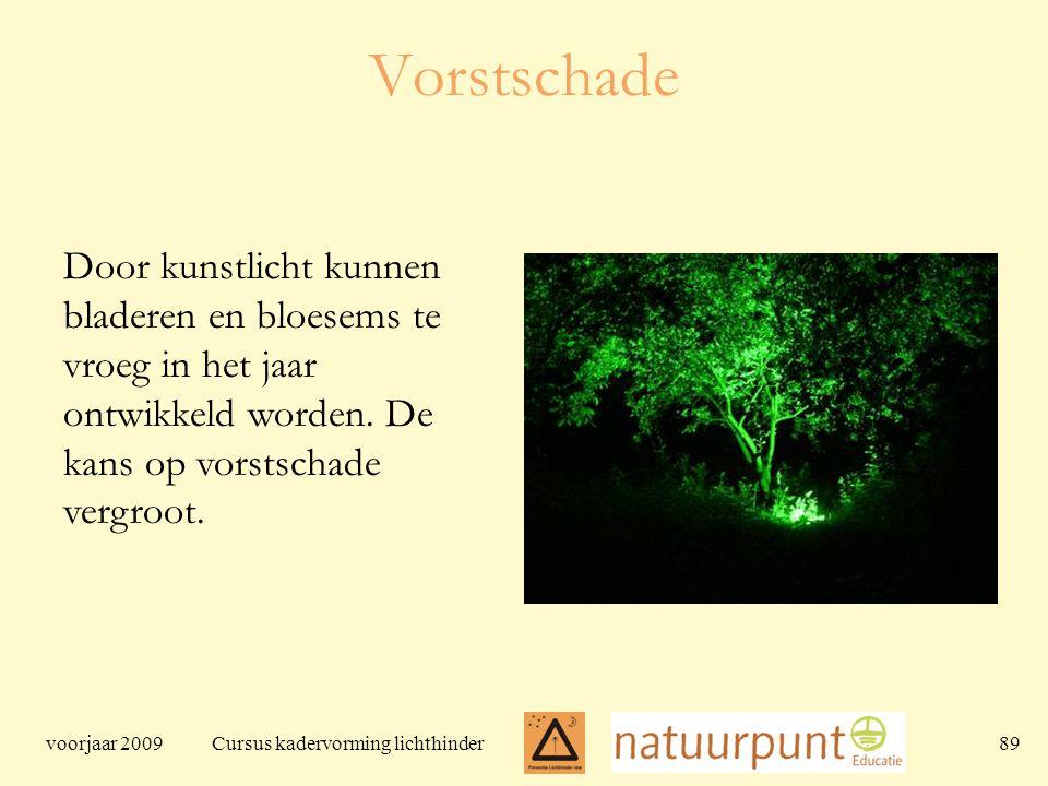 voorjaar 2009 Cursus kadervorming lichthinder 89 Vorstschade Door kunstlicht kunnen bladeren en bloesems te vroeg in het jaar ontwikkeld worden.