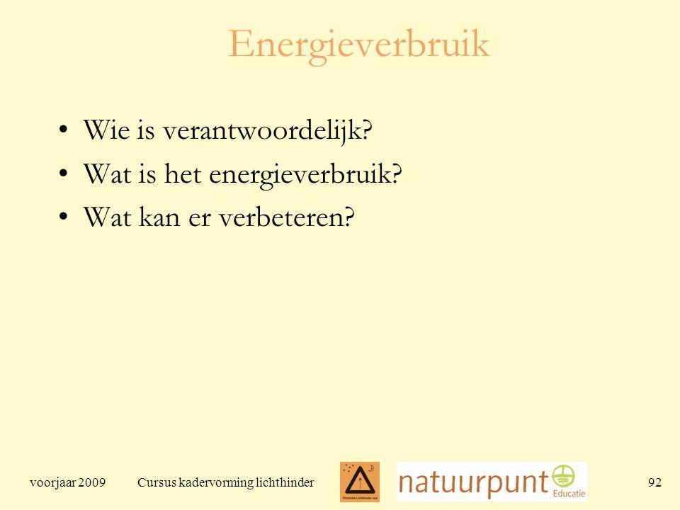 voorjaar 2009 Cursus kadervorming lichthinder 92 Energieverbruik Wie is verantwoordelijk.