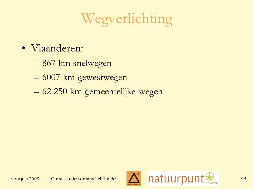 voorjaar 2009 Cursus kadervorming lichthinder 95 Wegverlichting Vlaanderen: –867 km snelwegen –6007 km gewestwegen –62 250 km gemeentelijke wegen