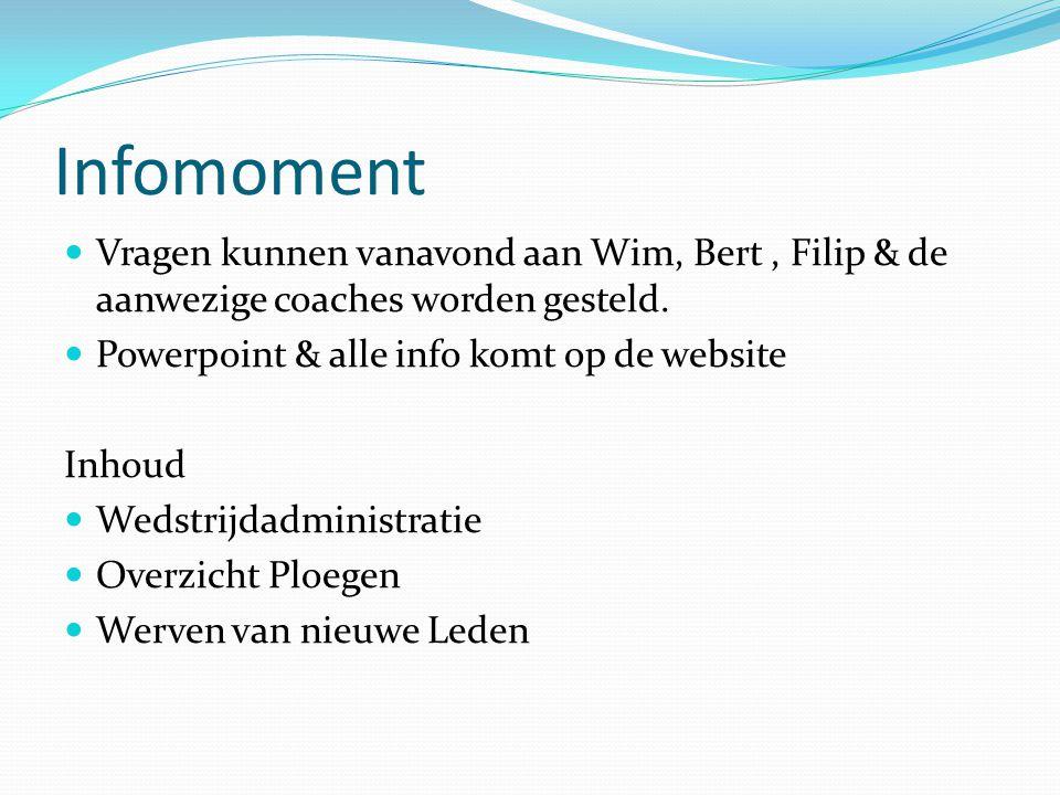Infomoment Vragen kunnen vanavond aan Wim, Bert, Filip & de aanwezige coaches worden gesteld. Powerpoint & alle info komt op de website Inhoud Wedstri
