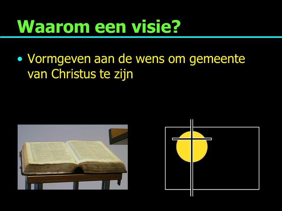 Waarom een visie Vormgeven aan de wens om gemeente van Christus te zijn