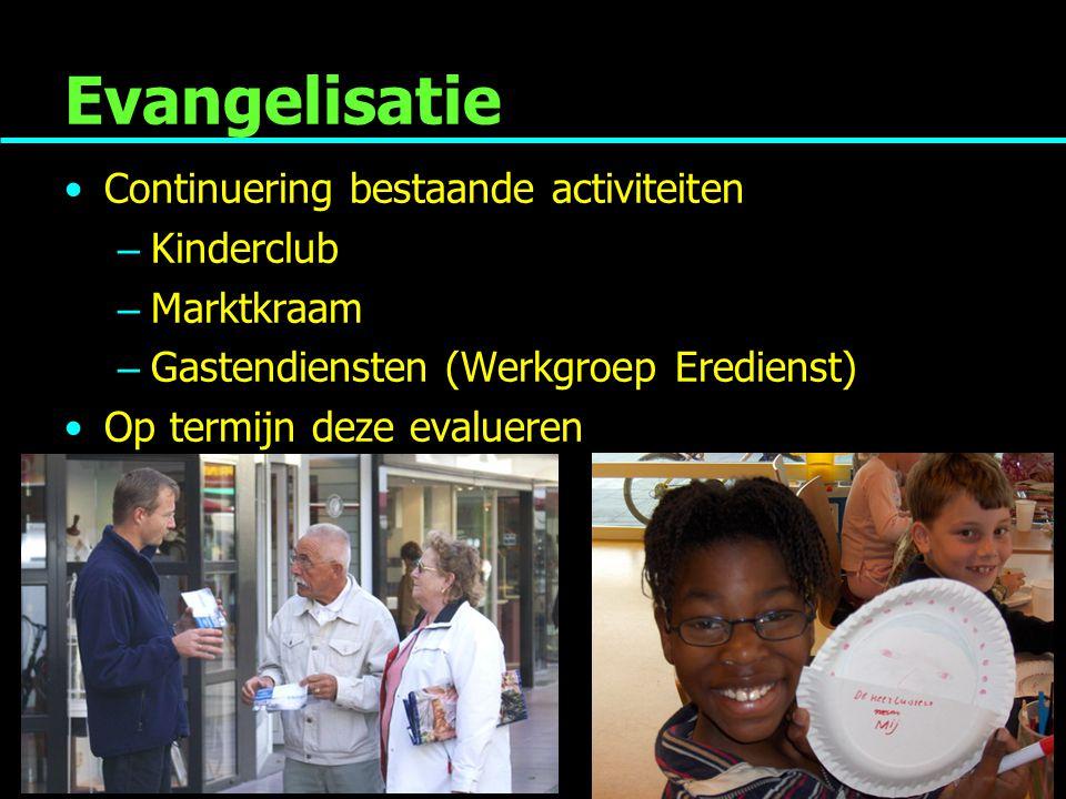 Evangelisatie Continuering bestaande activiteiten – Kinderclub – Marktkraam – Gastendiensten (Werkgroep Eredienst) Op termijn deze evalueren