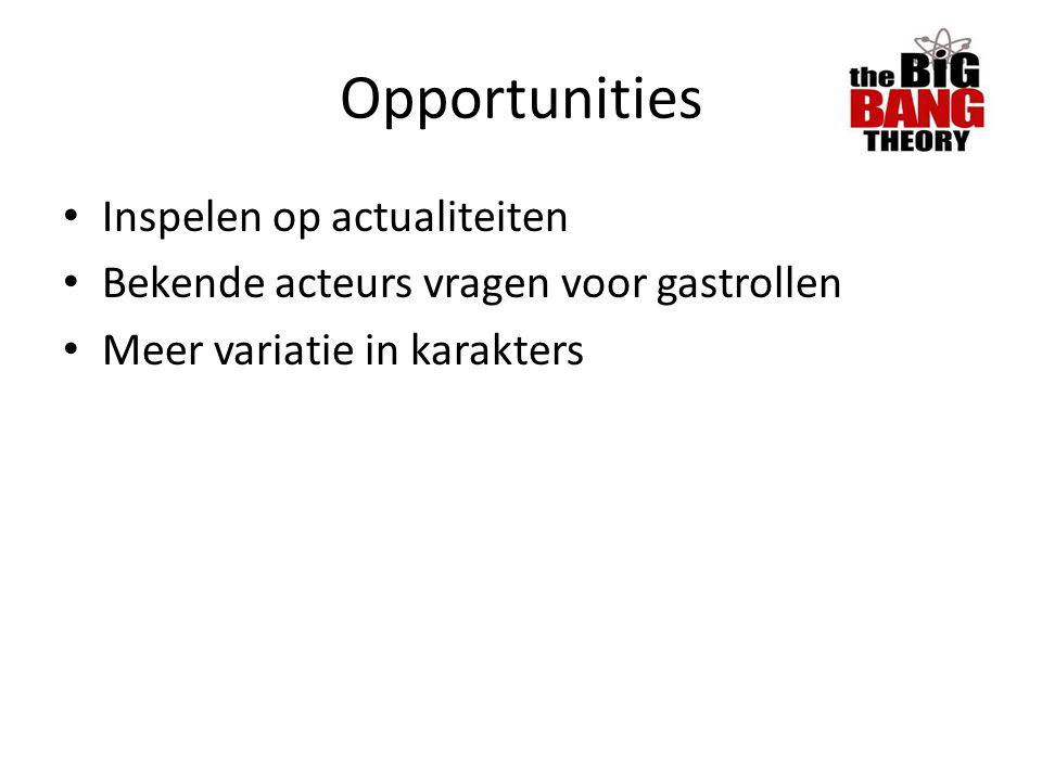 Opportunities Inspelen op actualiteiten Bekende acteurs vragen voor gastrollen Meer variatie in karakters