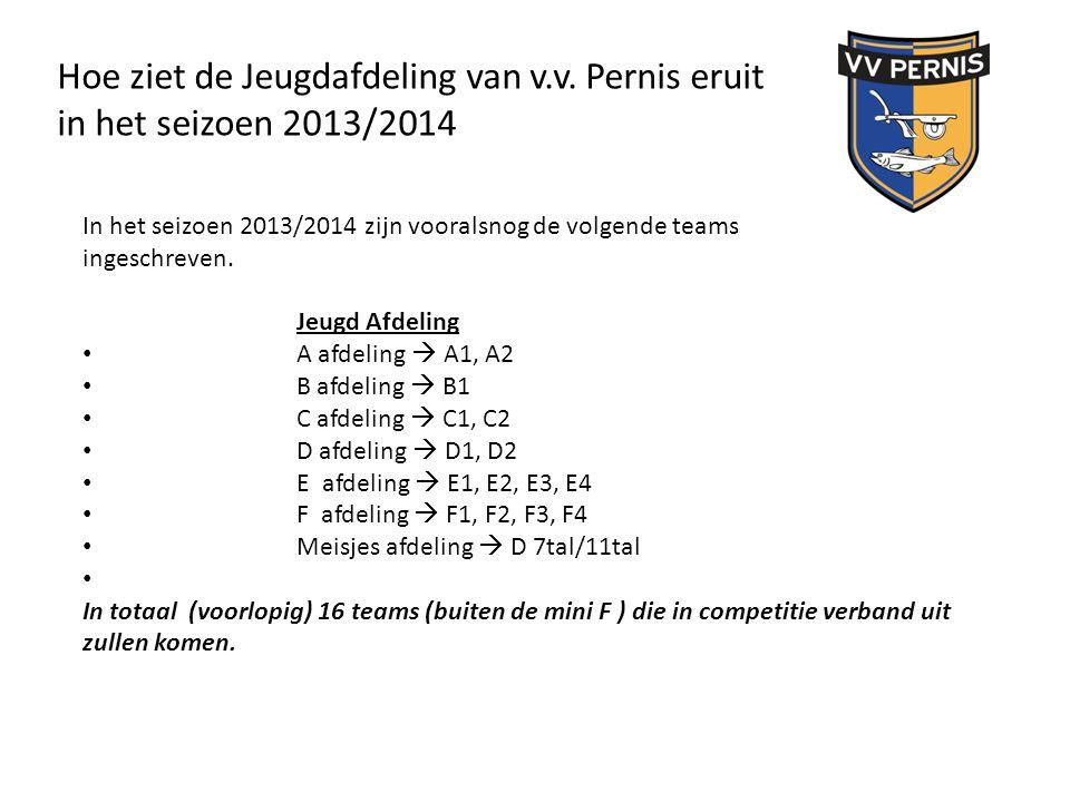 Hoe ziet de Jeugdafdeling van v.v. Pernis eruit in het seizoen 2013/2014 In het seizoen 2013/2014 zijn vooralsnog de volgende teams ingeschreven. Jeug
