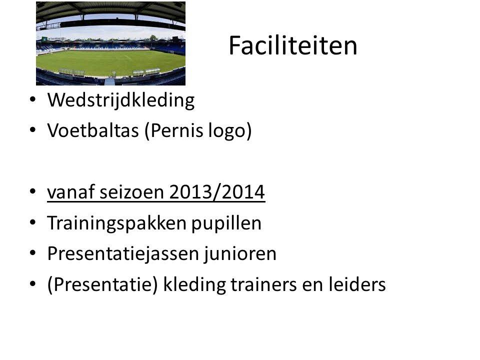 Faciliteiten Wedstrijdkleding Voetbaltas (Pernis logo) vanaf seizoen 2013/2014 Trainingspakken pupillen Presentatiejassen junioren (Presentatie) kledi