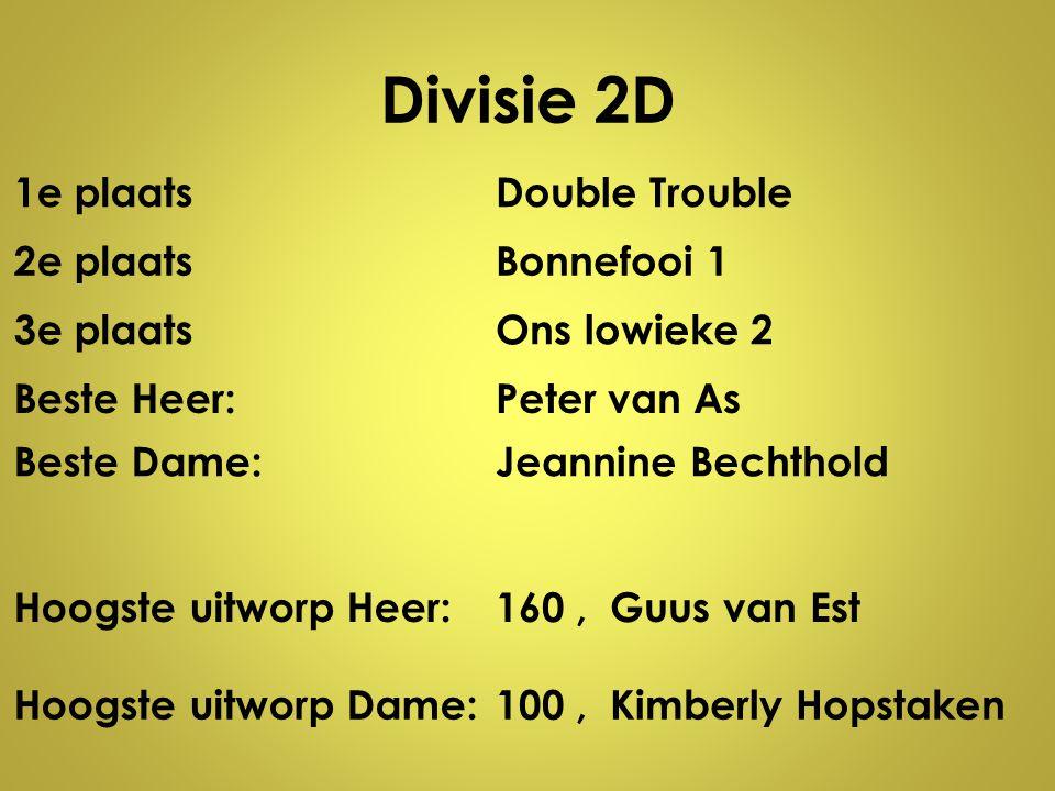 Divisie 2D 1e plaatsDouble Trouble 2e plaatsBonnefooi 1 3e plaatsOns lowieke 2 Beste Heer:Peter van As Beste Dame:Jeannine Bechthold Hoogste uitworp H