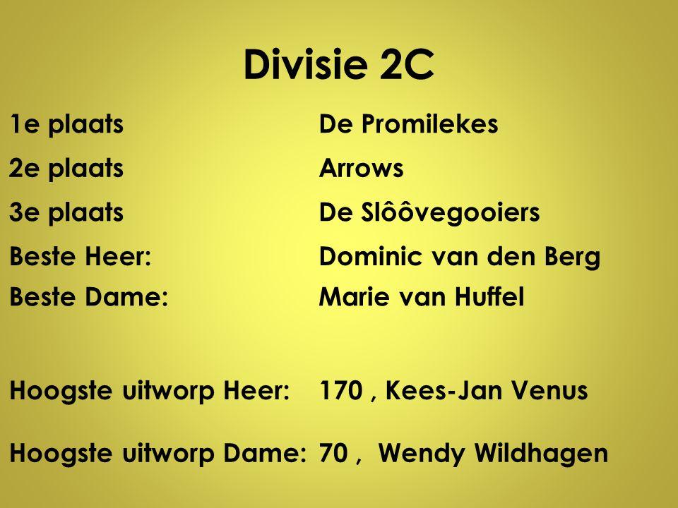 Divisie 2C 1e plaatsDe Promilekes 2e plaatsArrows 3e plaatsDe Slôôvegooiers Beste Heer:Dominic van den Berg Beste Dame:Marie van Huffel Hoogste uitwor