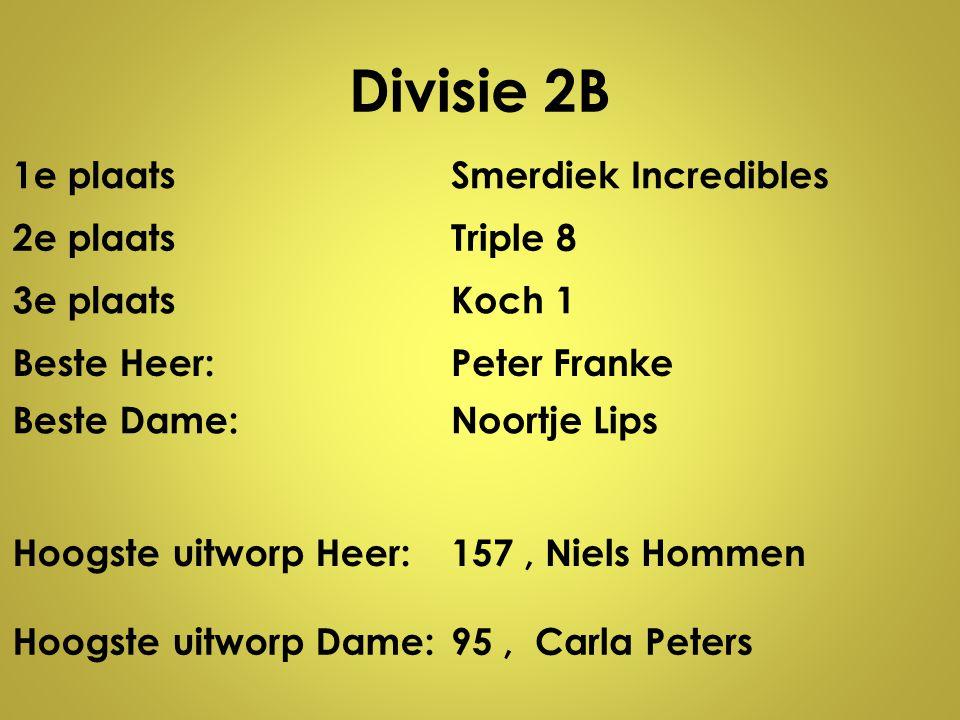 Divisie 2B 1e plaatsSmerdiek Incredibles 2e plaatsTriple 8 3e plaatsKoch 1 Beste Heer:Peter Franke Beste Dame:Noortje Lips Hoogste uitworp Heer:157, N