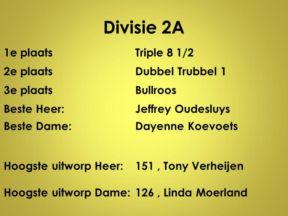 Divisie 2A 1e plaatsTriple 8 1/2 2e plaatsDubbel Trubbel 1 3e plaatsBullroos Beste Heer:Jeffrey Oudesluys Beste Dame:Dayenne Koevoets Hoogste uitworp
