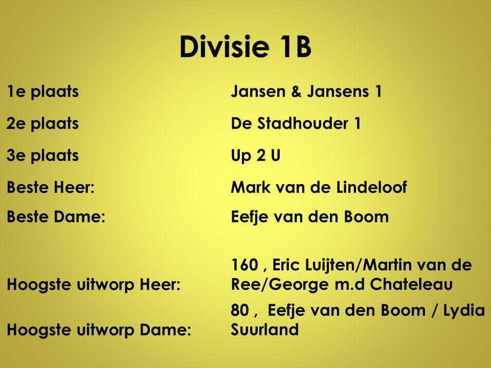 Divisie 1B 1e plaatsJansen & Jansens 1 2e plaatsDe Stadhouder 1 3e plaatsUp 2 U Beste Heer:Mark van de Lindeloof Beste Dame:Eefje van den Boom Hoogste
