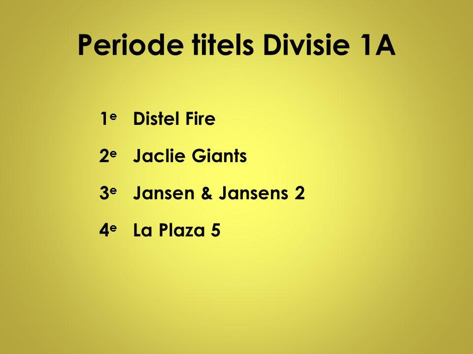 Periode titels Divisie 1A 1e1e Distel Fire 2e2e Jaclie Giants 3e3e Jansen & Jansens 2 4e4e La Plaza 5