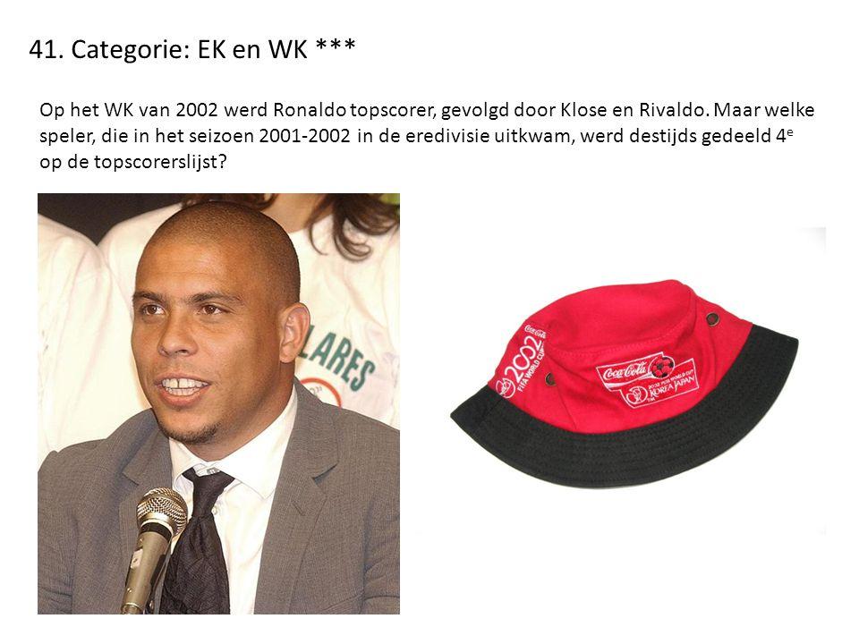 41. Categorie: EK en WK *** Op het WK van 2002 werd Ronaldo topscorer, gevolgd door Klose en Rivaldo. Maar welke speler, die in het seizoen 2001-2002