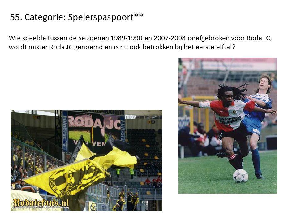 55. Categorie: Spelerspaspoort** Wie speelde tussen de seizoenen 1989-1990 en 2007-2008 onafgebroken voor Roda JC, wordt mister Roda JC genoemd en is