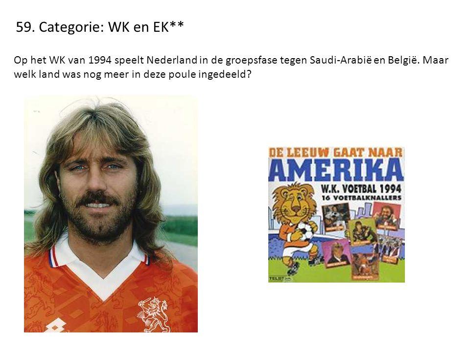 59. Categorie: WK en EK** Op het WK van 1994 speelt Nederland in de groepsfase tegen Saudi-Arabië en België. Maar welk land was nog meer in deze poule